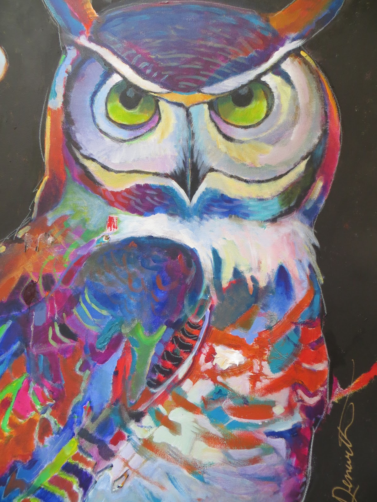 Daily Painters Abstract Gallery: Colorful Abstract Owl ...