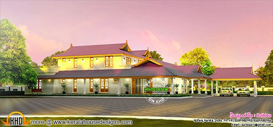 Luxury Kerala model house architecture