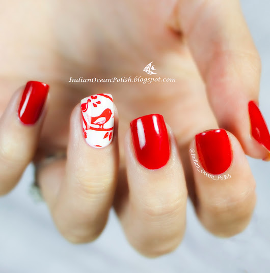 Red and White Nail art with MoYou Mother Nature 02