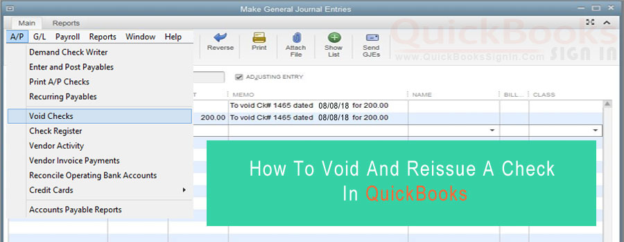 How To Void And Reissue A Check In QuickBooks