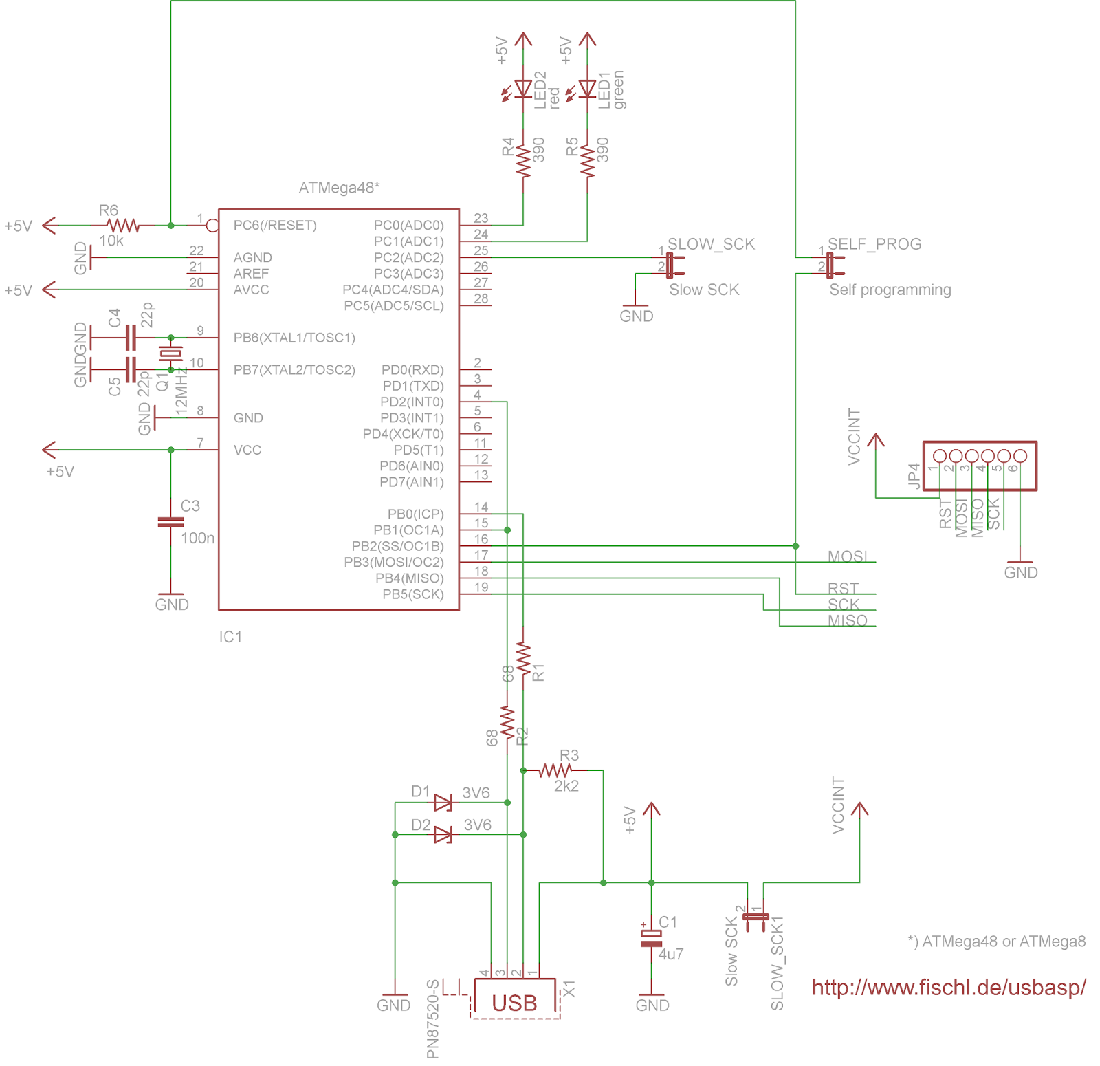 hight resolution of homemade usbasp programmer electronics enthusiast diy 3d here is the programmer schematic
