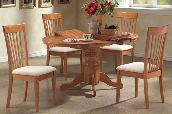 Round Wood Dining Table and Chairs for 4 or 6