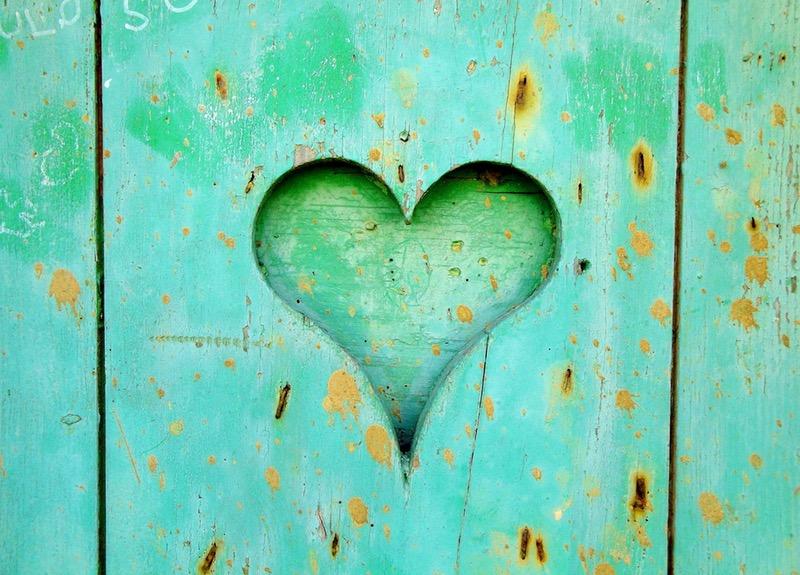 Aqua Wood Heart
