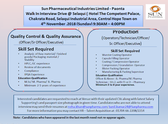 SUN PHARMA Walk-In For Multiple Openings in Quality Control, Quality Assurance, Production at 4 November