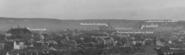 Stadtansicht Ansbach, Mittelfranken - um 1930 - einige Sehenswürdigkeiten sind markiert