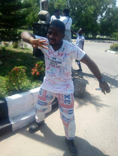 AAUA Final Year Student Wears Cement Sack Clothes To Celebrate His Signing Out – See Photos