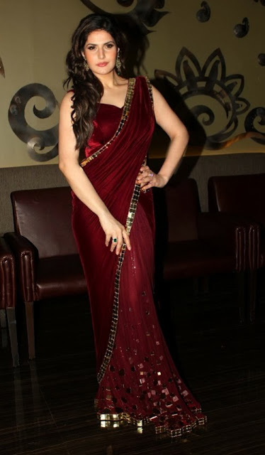 Zarin Khan Bollywood Famous Actress Wear Designer Maroon Saree