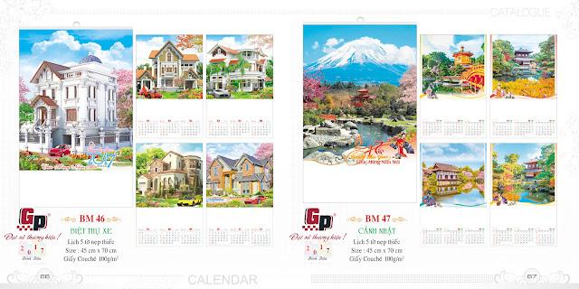 Mẫu lịch nẹp thiếc 5 tờ - Biệt thự xe (ảnh 1) &  Cản Nhật (ảnh 2)