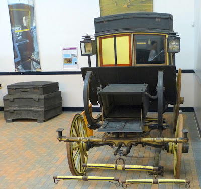 Travelling chariot with imperials mounted on the roof,  National Trust Carriage Museum, Arlington Court