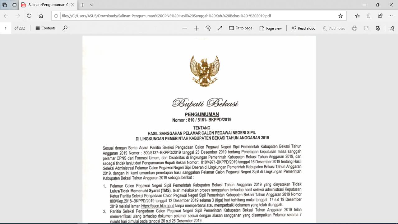 Pengumuman Hasil Sanggah CPNS 2019 Kabupaten Bekasi