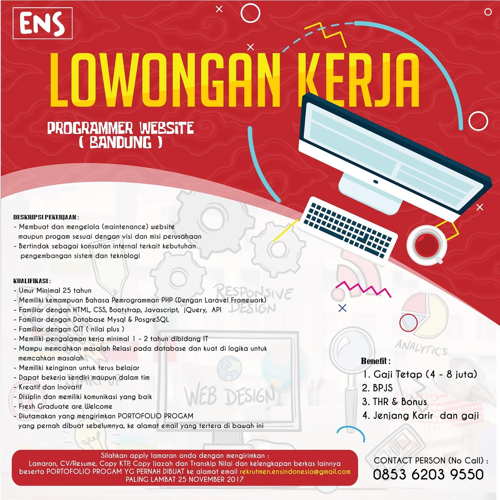 Lowongan Kerja Programmer Website ( Bandung ) ENS Indonesia November 2017