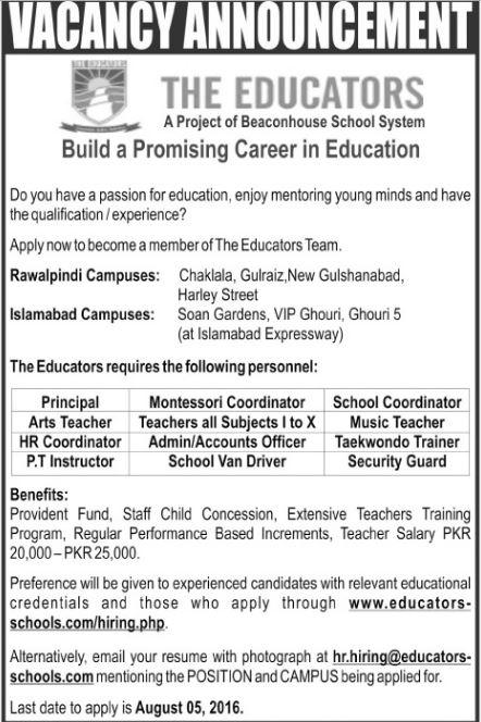 Teachers jobs, The Educators, Principal Job, Private Jobs, latest private job in pakistan, Rawalpindi, Islamabad, Teachers jobs,