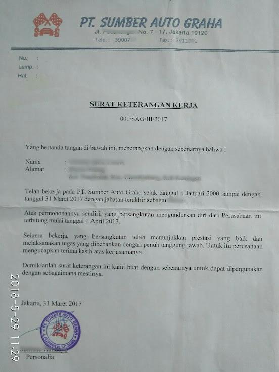 Contoh surat vaklaring untuk klaim JHT
