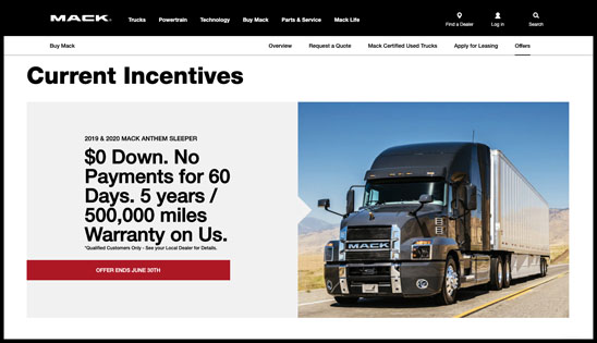 Mack Extends Special Finance Offers for Customers to June 30