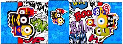 Etiqueta Tic Tac para Imprimir Gratis de Minions Super Héroes.