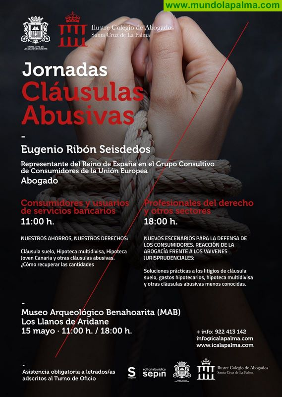 El Ayuntamiento de Los Llanos y el Colegio de Abogados de La Palma organizan unas jornadas sobre cláusulas abusivas