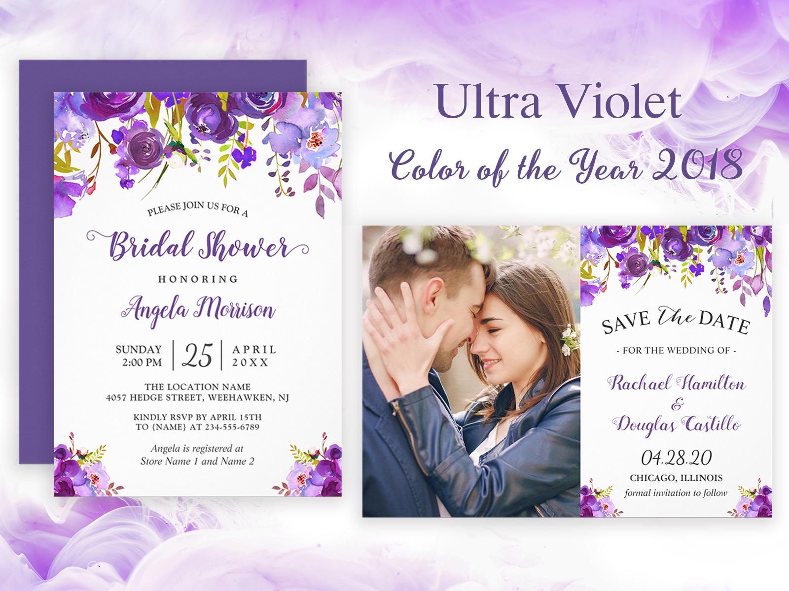 2018 Trendy Ultra Violet Floral Wedding Invitation Suite