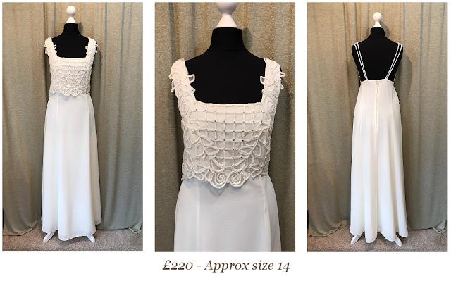 simple beach destination vintage wedding dress available at vintage lane bridal boutique in bolton , manchester, lancashire