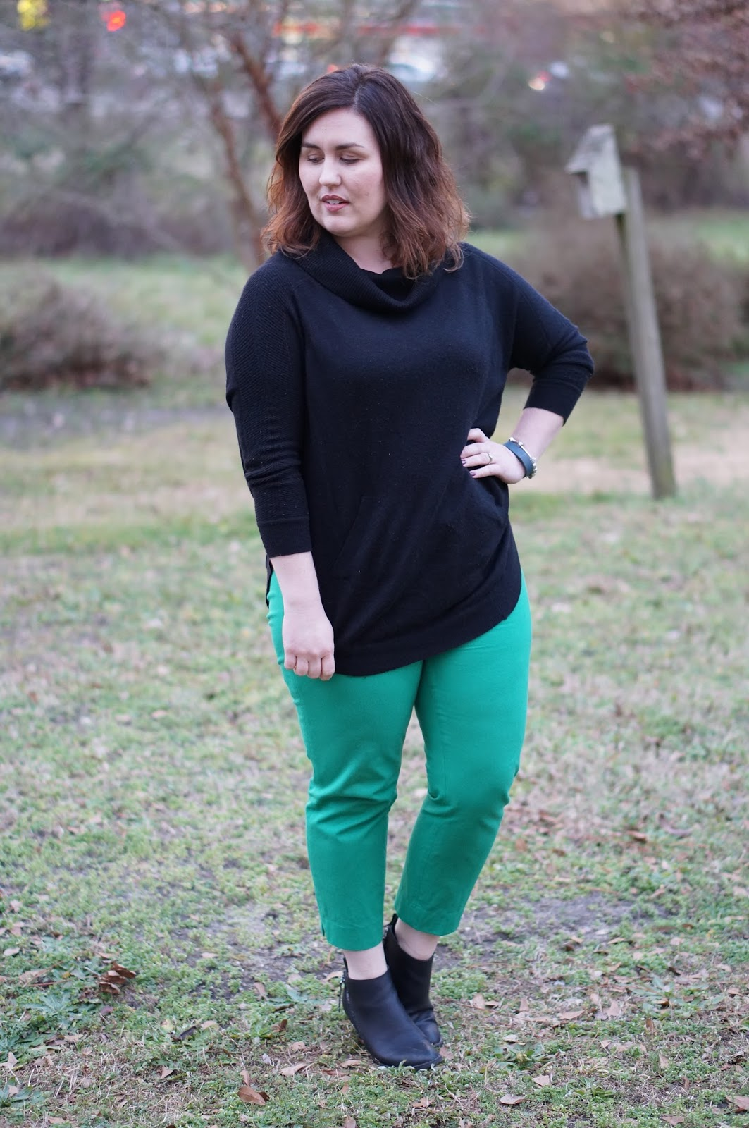 Rebecca Lately Colorblocking Kate Spade Studs Fate Stitch Fix Sweater Banana Republic Ankle Pants Target Jameson Booties