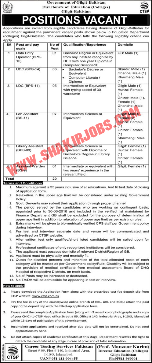 Directorate of Education Government of Pakistan Jobs 2020