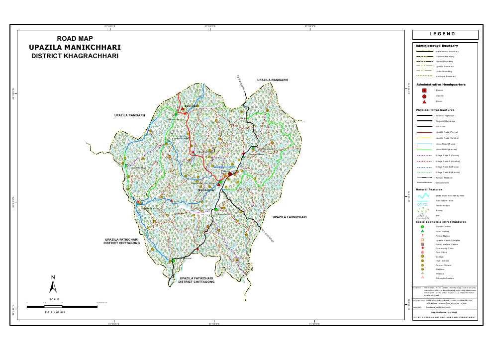 Manikchari Upazila Road Map Khagrachari District Bangladesh
