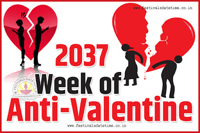 2037 Anti-Valentine Week List, 2037 Slap Day, Kick Day, Breakup Day Date Calendar