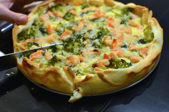 receta de quiche de brocoli y salmon