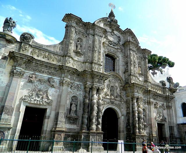 Fachada de La Compañia, a igreja dos jesuítas, Quito, Equador