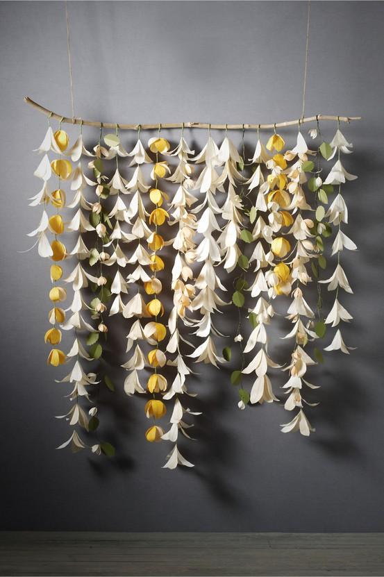 paper flower garland backdrop