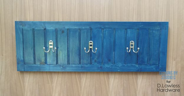 Planked Coat Rack with Coat Hooks
