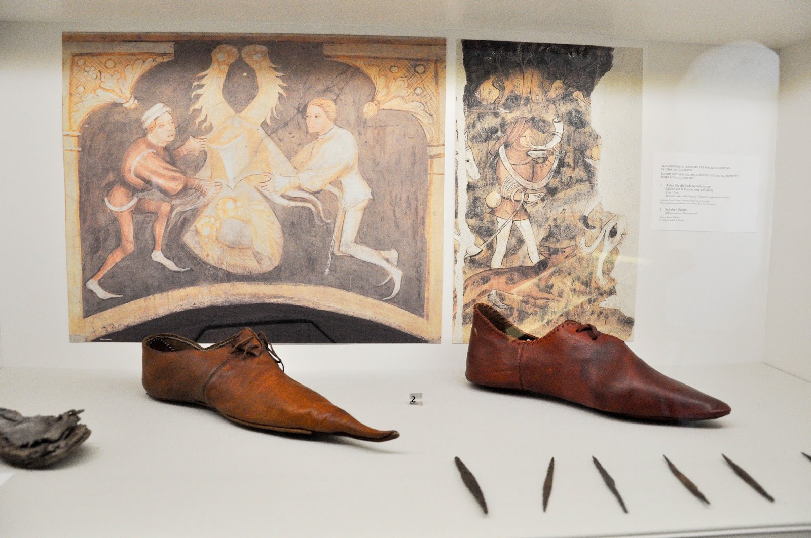 Medieval shoes and soles, Runkelstein Castle, Bolzano, South Tyrol, Italy
