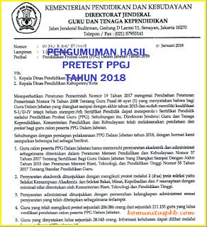 Pengumuman Hasil Pretest PPG dalam Jabatan dan Verval Disdik Tahun 2018