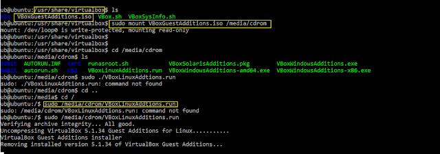 Mount and install the virtualbox-guest-additiosn-iso