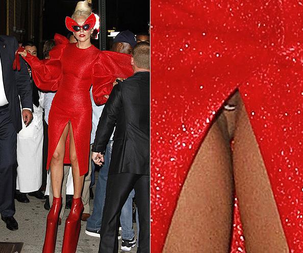 Lady Gaga de vestido acaba mostrando sua calcinha