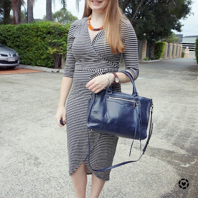 awayfromblue instagram atmos&here zig zag wrap dress classic office outfit with navy Regan bag