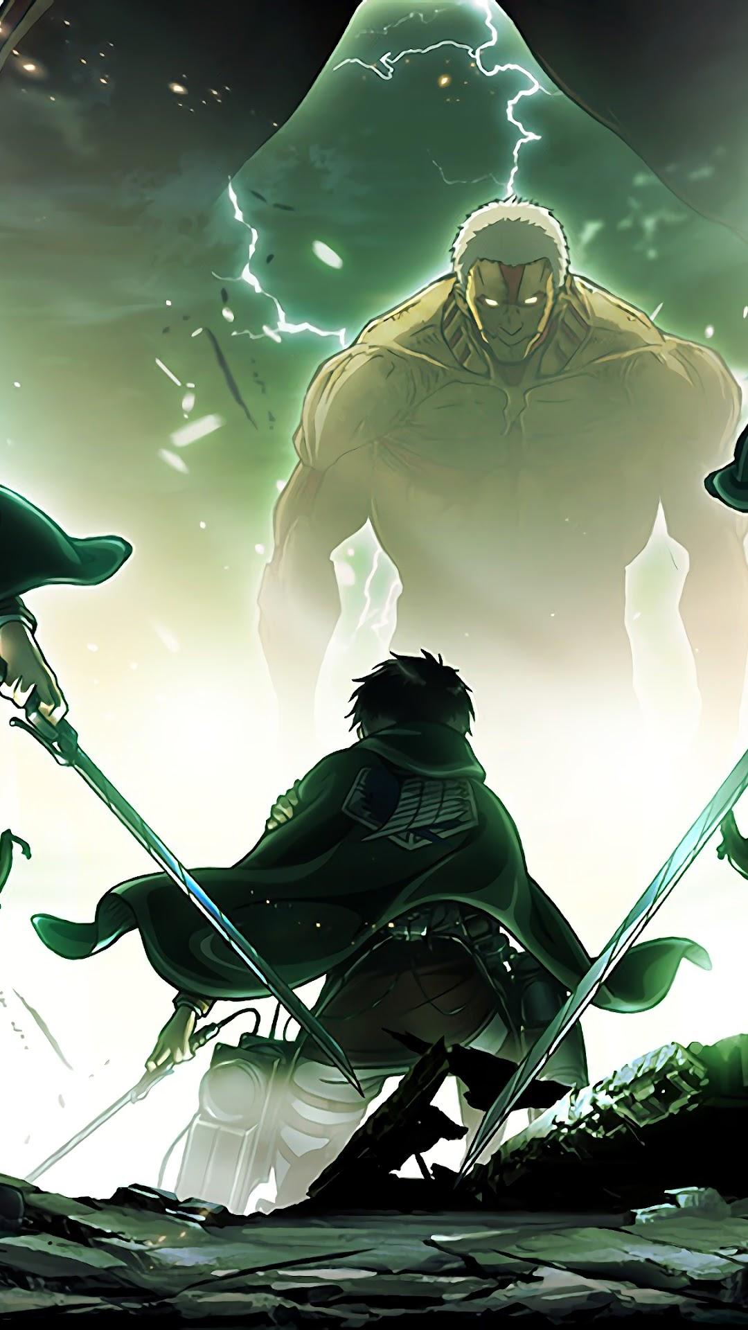 Armin Mikasa Eren Colossal Titan Attack On Titan 4k Wallpaper 166