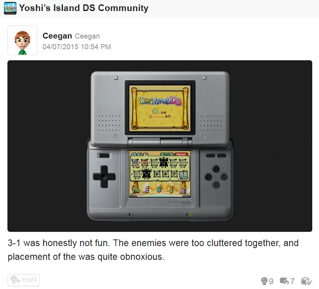 Yoshi's Island DS Miiverse community feedback 3-1 Up the Creek criticism