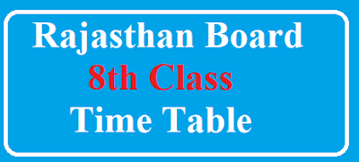 rajasthan board 8th class time table 2018 - rbse 8th exam date 2018