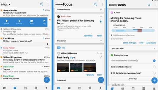 Samsung Focus;  un'applicativo che riunisce servizi come email, social network, messaggistica, calendari e altro da un unico ambiente.