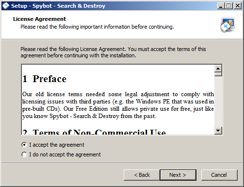 برنامج spybot لفحص الكمبيوتر والتخلص من البرمجيات الضارة والخبيثة