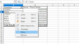 LibreOffice Calc -  Agregar filtros a las columnas de un tabla dinámica