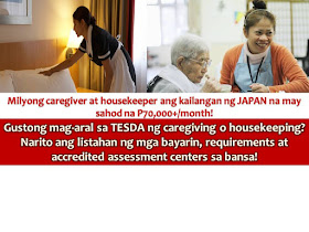 Filipino housekeepers and caregivers are still in-demand around the world. In Japan alone, millions of housekeepers and caregivers are needed for their aging population with a salary of more than P70,000 per month.  For those who are interested in pursuing their careers as housekeepers and caregivers, you may take up classes from Technical Education and Skills Development Authority (TESDA) since the certification from this agency is the number one requirement.  CAREGIVING NC II(2)  A face-to-face short course offered by TESDA with 786 hours to complete. Caregiving teaches the proper ways of caring and supporting infants/toddlers, senior citizens and people with special needs. It also trains the maintaining of a healthy and safe environment, respond to an emergency, clean living room, dining room, bedrooms, toilet and bathroom, wash and iron clothes, linen, fabric, and prepare hot and cold meals.