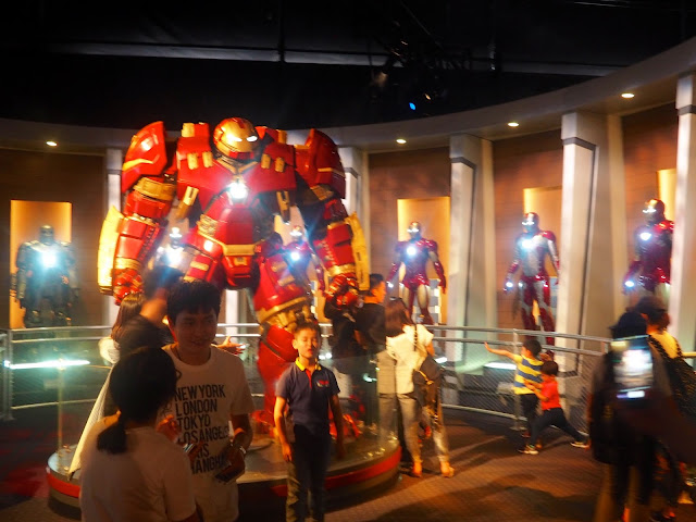 Iron Man suits in the Marvel hall, Shanghai Disneyland, China