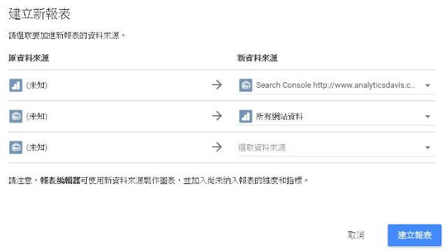 套用Search Console與GA報表來源於Data Studio