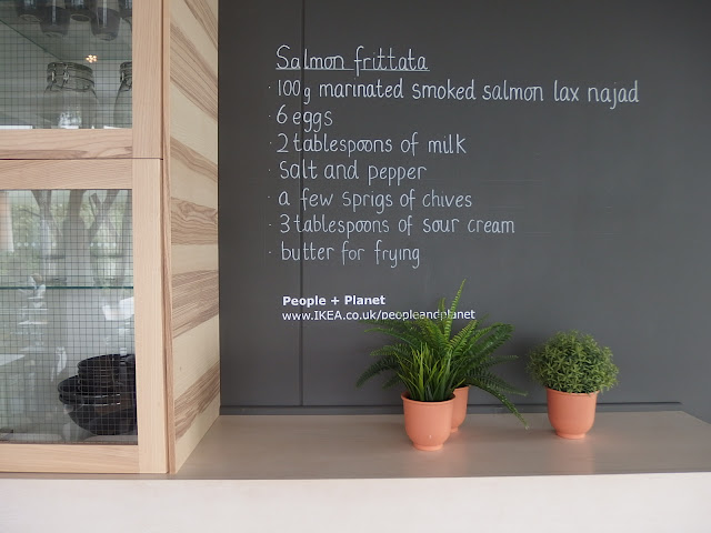 Salmon frittata recipe blackboard at the IKEA restaurant in Bristol