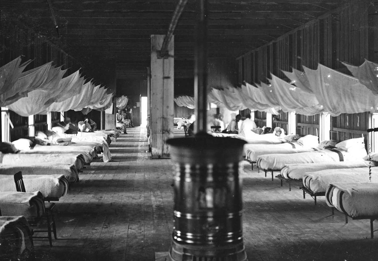 Interior of a ward of Washington D.C.'s Harewood General Hospital in 1864. Harewood opened in September 1862 and closed in May 1866, after the end of the war.