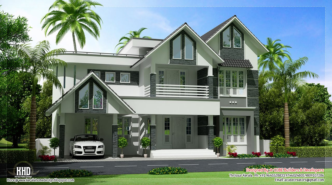 Beautiful sloping roof villa design kerala home design for Sloped roof house plans in india