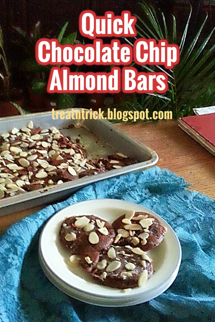 ... making this quick chocolate chip almond bars made with chocolate chip