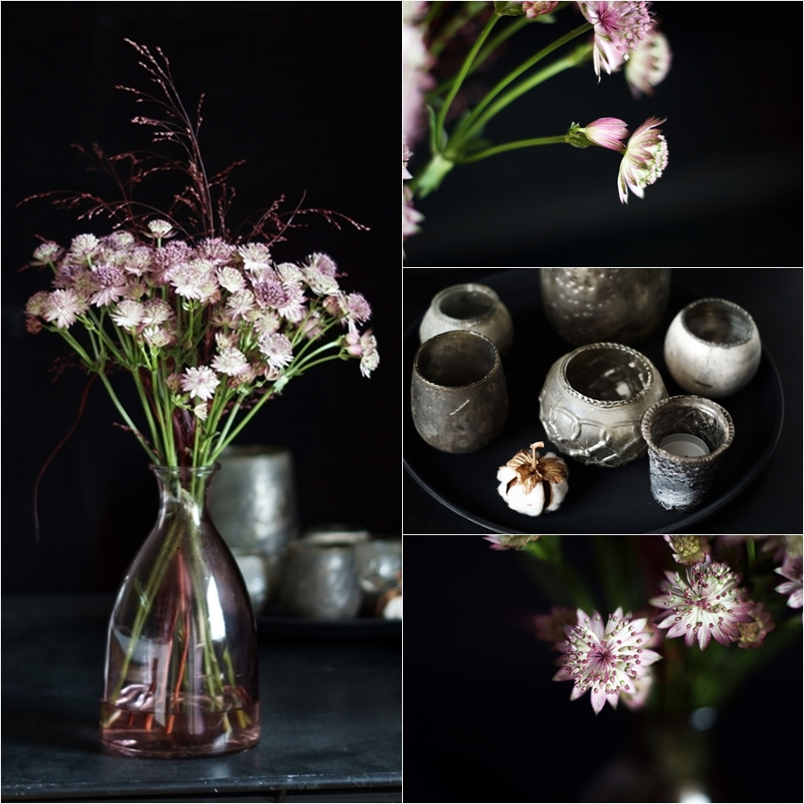 Blog + Fotografie by it's me! - Collage aus Sterndolde Astrantia und Windlichtern