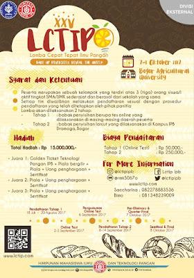 Lomba Cepat Tepat Ilmu Pangan (LCTIP) XXV 2017 by IPB for SMA/SMK